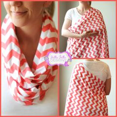 Hold Me Close Chevron Nursing Scarf - Coral Chevron, Nursing Cover, Infinity Scarf