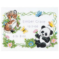 """Dimensions Baby Hugs """"Baby Animals"""" Birth Record Stamped Cross Stitch Kit, 12"""" x 9"""""""