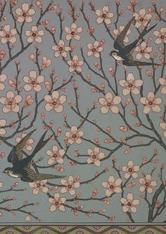 Natalie's Sketchbook: Beautiful Garden Florals from the V&A  Almond Blossom and Swallow wallpaper frieze designed by Walter Crane for Jeffrey & Co, 1878