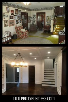 faux brick wall, exposed brick wall, shiplap, before and after, wood floors, wood stairs, wood ceilings Faux Brick Panels, Brick Paneling, Exposed Brick Walls, Cottage Renovation, Home Renovation, Home Remodeling, Dining Room Inspiration, Interior Inspiration, Wood Stairs