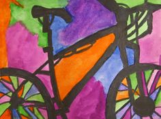 Art in the Big Green Room: 5th grade positive/negative space, complementary color set, observational drawing