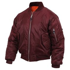 Rothco Air Force Military Reversible Bomber Jacket Flight Coat Jacket NEW. Rothco Air Force Concealed Carry Bomber Jacket Flight Coat Jacket NEW BLACK. Red Bomber Jacket, Maroon Jacket, Bomber Coat, Windbreaker Jacket, Vest Jacket, Bomber Jackets, Military Looks, Military Style, Wraps