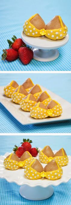 It was an itsy bitsy, teeny weeny, yellow polka-dot bikini….. that she made in her kitchen.  With strawberries and candy coating.  lol  These would be fun for a pool party, a bridal shower, etc...