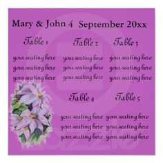 "Floral Wedding ""Clementis"" seating chart. Print"