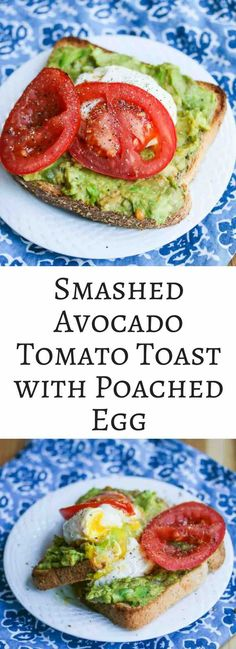 Smashed Avocado Toast with Tomato and Poached Egg - this healthy breakfast is so quick and easy to make. I could eat this every day!: