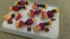 Mini fruit/cheese kabobs with a splash of chocolate