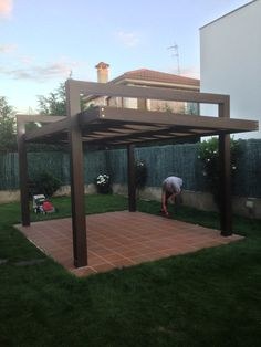 While age-old around notion, the pergola may be going through somewhat of a current rebirth Backyard Pavilion, Backyard Pergola, Patio Roof, Backyard Landscaping, Pallet Pergola, Rustic Pergola, Pergola Plans, Pergola Kits, Pergola Ideas
