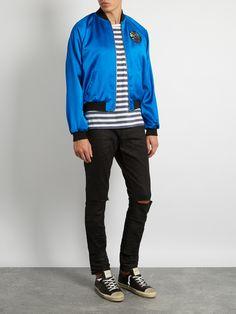 Sweet Dreams-appliqué satin bomber jacket | Saint Laurent | MATCHESFASHION.COM UK