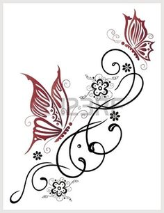 Feminine, filigree tribal with flowers and butterfly - 123rf