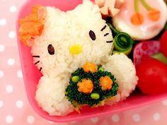 Little Miss Onigiri: Hello Kitty with Flora Bouquet Bento 弁当