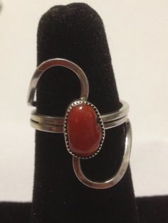 Navajo Red Coral Ring Sterling Silver Size 6.5 by BargainBitz, $30.00