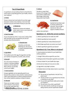 ESL worksheet about top 10 Superfoods. ESL worksheet of the day by Lewn. April 13, 2015