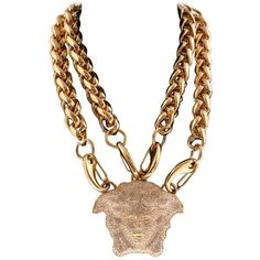 Preowned Versace Gold Double Chain Necklace W/ Crystal Embellished... ($2,395) ❤ liked on Polyvore featuring jewelry, necklaces, chain necklaces, gold, double gold chain necklace, gold necklace, gold jewelry, yellow gold necklace and versace necklace