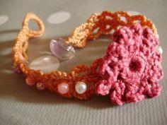 bracelet crocheté et perles