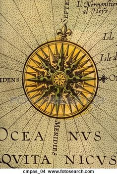 Antique Compass Rose (hand-colored copper engraving) View Large Illustration