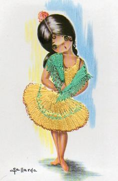 Vintage Embroidered Spanish Postcard  Gallarda by CuteEyeCatchers