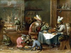 'Costumed  Apes Having a Meal' by David Teniers the Younger 1610  - 1690