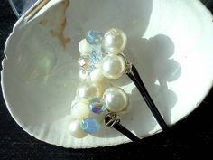 Pearl Bobby Pins with Something Blue Crystals by SomethingSeaBlue, $23.00