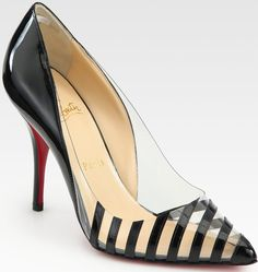 Christian Louboutin Pivichic Striped Patent Leather Pumps