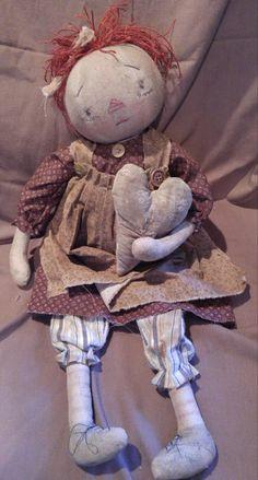 Primitive Folk Art Doll OOAK Raggedy Ann Mustard Seed Fat Hen Farm Cloth Calico | eBay