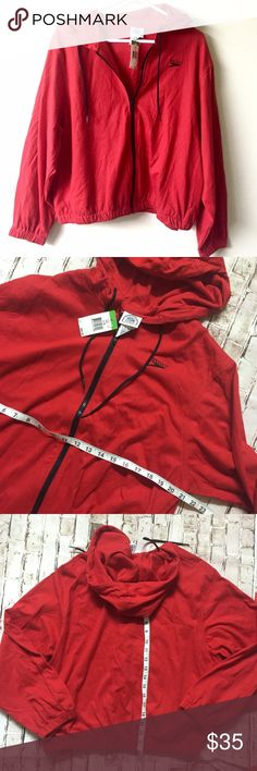 Rare! Vtg speedo oversized red pullover hoodie Slightly cropped comes with original tags attached retailed for $90 , this was probably around the 90s Speedo Tops Sweatshirts & Hoodies