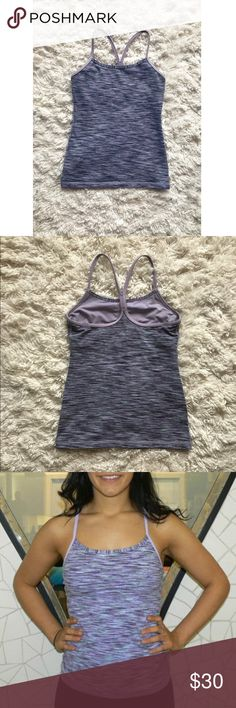 Lululemon Power Y Lilac Space Dye Tank Light heathered purple color. The first two pics of the tank are sort of dark, the last pic is the tank's true color. In great condition and has option to add padding if desired 😊 lululemon athletica Tops Tank Tops