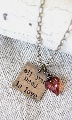 All you need is love. Quote inspirational charm