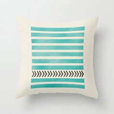 TEAL STRIPES AND ARROWS Throw Pillow