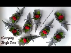 Wrapping single flower felt rose bouquet | Cara membungkus bunga mawar flanel single - YouTube Single Flower Bouquet, Flower Bouquet Diy, Bouquet Wrap, Rose Bouquet, Felt Roses, Felt Flowers, Diy Flowers, Fabric Flowers, How To Wrap Flowers