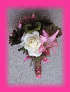 Mossy Oak Decorations for Wedding   wedding ideas / Hot Pink Mossy Oak Wedding Bouquets, Camo Bouquets