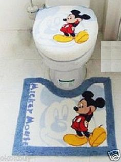 3pc Stretchy Disney Mickey Mouse Bathroom Toilet lid Cover Mat Rug Carpet Set