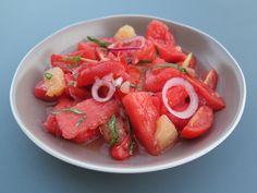 Salade de Pastèque, tomate & pamplemousse à la vanille