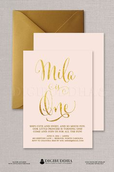 95 best digibuddha kids birthday invitations images on pinterest in blush pink gold foil birthday invitation baby girl ballet pink and gold 1st birthday first birthday invites available at digibuddha filmwisefo