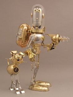 """Jim and George: Space Cadets"" brass & steel robot sculpture by Lawrence Northey"