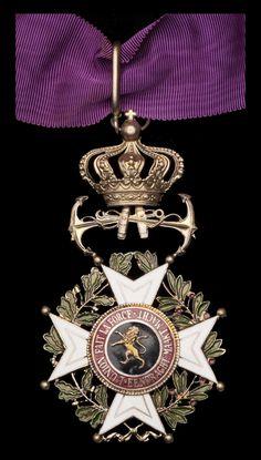 Order of Leopold (naval), Commander's neck badge, bilingual, with neck cravat.