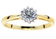 Prześliczny, złoty pierścionek zaręczynowy z brylantami w kształcie kwiatu - GRAWER W PREZENCIE | PIERŚCIONKI ZARĘCZYNOWE  Brylant  Żółte złoto od GESELLE Jubiler