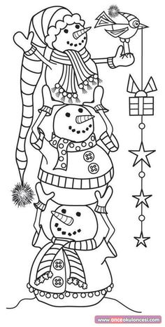 Hampton Art - Wood Mounted Stamp by Outlines - Snowman Tower or trace and color? Christmas Coloring Pages, Coloring Book Pages, Coloring Sheets, Christmas Colors, Christmas Art, Christmas Design, Family Christmas, Christmas Decorations, Hampton Art
