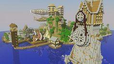 minecraft steampunk island   Medieval/Steampunk Island With Airship