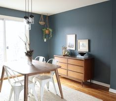 Smoky Blue Dining Room from Meredith Lynn Designs Dining Room Colour Schemes, Dining Room Paint Colors, Kitchen Wall Colors, Blue Accent Walls, Accent Walls In Living Room, Dining Room Walls, Living Room Wall Colors, Blue Walls, Living Rooms