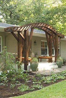 Curved Wooden Pergola  Make a huge impact and add architectural dimension to your outdoor space with a custom pergola.