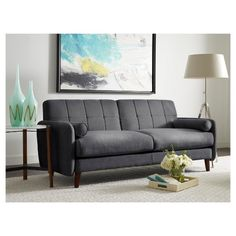 Looking for the perfect mid-century modern loveseat for that small space? Your search ends with the Serta Savanna Loveseat. With clean lines and contemporary design, this loveseat is right at home in a mid-century modern theme. Sink into the Savanna's deep seats and cozy cushions for watching TV, reading, and more in comfort and style. Its durable hardwood frame is made to last, while the microfiber fabric provides easy, worry-free care. Kids and pets are welcome to sit here! Two matching...