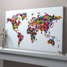 I think it would be cool to have a basic outline of the continents and add a heart every time you travel somewhere.