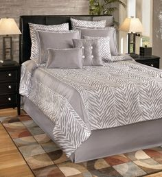 Park B. Smith Nairobi Comforter Set, Silver, Queen by Park B. Smith. $215.85. Take a trip to the wild without ever leaving your bedroom with this stylish, easy care comforter set. Set includes queen comforter, queen bedskirt, and two standard shams. Antique silver and white framed motif reverses to solid antique silver bottom, with silver bedskirt. Imported. All items 100-percent polyester machine washable. Take a trip to the wild without ever leaving your bedroom with ...