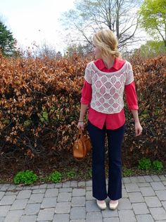love the crochet and collared shirt