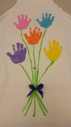 Mother's day aprons, handprint flower bouquet