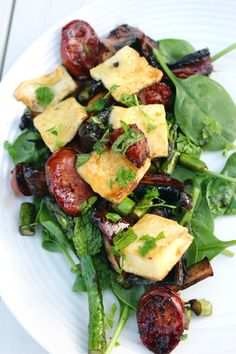 Haloumi Chorizo Salad-- used kielbasa and Dijon instead of sugar to glaze, zest of one lemon, added watercress to the salad-- spritz lettuce with a little lemon juice