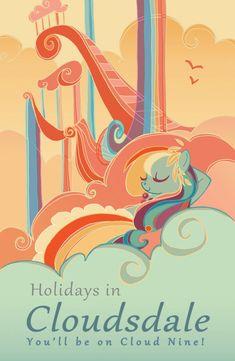 All Around Equestria Cloudsdale  11x17 Poster por CaseyRobinArt, $25.00