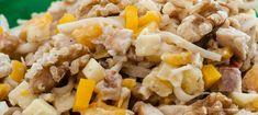 Kipsalade - Frisse salade met walnoten, knolselderij en kipfilet. Lekker bij barbecue of buffet maar ook heel geschikt als lunchhapje.
