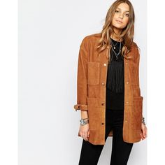 Pull&Bear Suede Jacket featuring polyvore, fashion, clothing, outerwear, jackets, beige, beige jacket, pull&bear, suede jacket, tall jacket and suede leather jacket