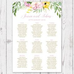 Blue Watercolour Wedding Seating Chart Plan By Peach Perfect